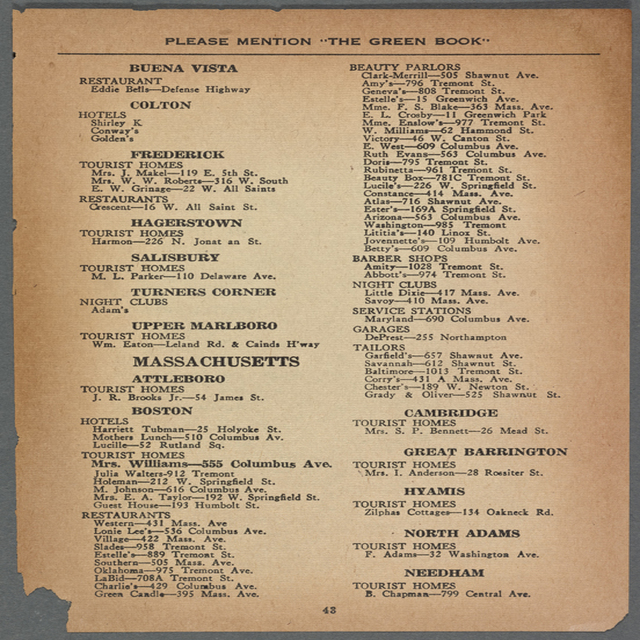 Massachusetts listing in the 1947 Green Book